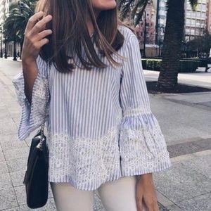 Zara Flare Bell Sleeve Lace Blue&White Stripe Top